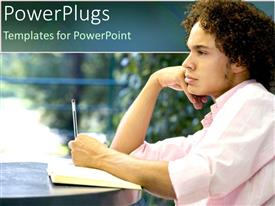 PowerPlugs: PowerPoint template with student with hand on chin jotting with pen on notepad