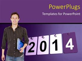 PowerPoint template displaying student ready for year 2014, with blue color