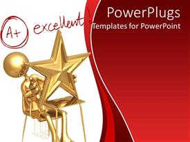 PowerPlugs: PowerPoint template with student sitting at desk with star, A+ excellent writing, grades, testing, education, learning, school