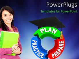 PowerPlugs: PowerPoint template with student smiling and strategy for success plan, prepare, practice with blue color