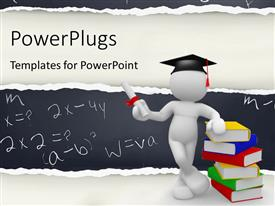 PowerPlugs: PowerPoint template with student standing beside multi color books with graduation hat on his head