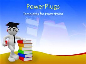 PowerPlugs: PowerPoint template with student standing with a pile of colorful books and graduation cap on his head