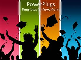 PowerPlugs: PowerPoint template with students celebrating graduation on multicolored background
