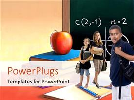 PowerPoint template displaying students in classroom with red apple on book and formula on chalkboard