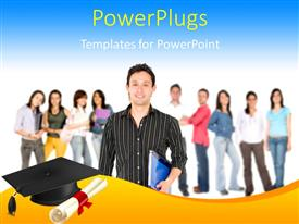 PowerPlugs: PowerPoint template with students dressed for school with black graduation cap and certificate