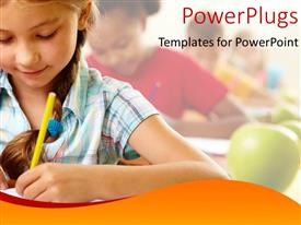 PowerPoint template displaying students learning in class with green apples on desk