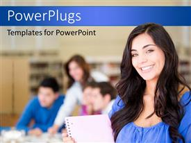 PowerPlugs: PowerPoint template with students at the library with books