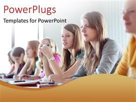 PowerPlugs: PowerPoint template with students seated at desk in class learning