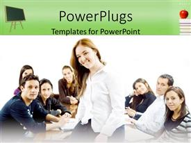 PowerPlugs: PowerPoint template with students sitting together poses for group picture with leader sitting on desk