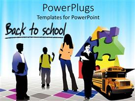 PowerPoint template displaying students and a yellow school bus on a colorful background with a text that spells out