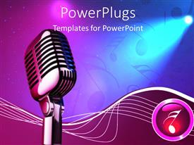 PowerPlugs: PowerPoint template with studio microphone on stage with purple and blue lighting and music symbols
