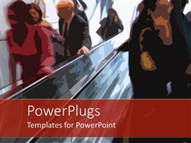 PowerPoint template displaying stylized people going up an escalator