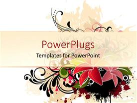 PowerPlugs: PowerPoint template with stylized red and pink flowers with black and green leaves and stems on white background