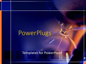 PowerPoint template displaying substance dripping down hourglass with glow of light and squares