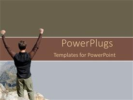 PowerPlugs: PowerPoint template with success, accomplishment metaphor with man with arms raised in victory on mountain top