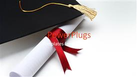 PowerPlugs: PowerPoint template with success achievement graduation hat graduation diploma red ribbon  yellow tassel