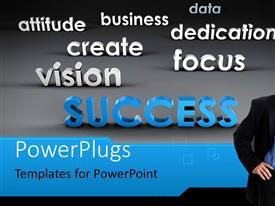 PowerPlugs: PowerPoint template with a smiling business man with lots of inspirational text