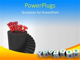 PowerPoint template displaying success ladder with cubes showing success and failure face