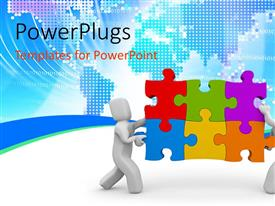 PowerPlugs: PowerPoint template with teamwork depiction with 3D men carrying puzzle over world map