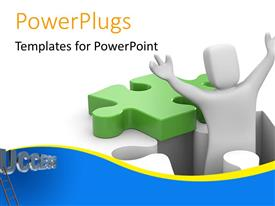 PowerPlugs: PowerPoint template with 3D man with raised hands emerges from position of missing puzzle piece