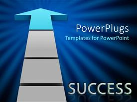 PowerPlugs: PowerPoint template with success metaphor with arrow pointing up, blue sunburst background