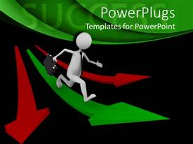 PowerPoint template displaying success metaphor with business man running on green arrow with red arrows