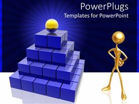 PowerPlugs: PowerPoint template with success metaphor with gold ball on top of blue stair pyramid with gold person looking on