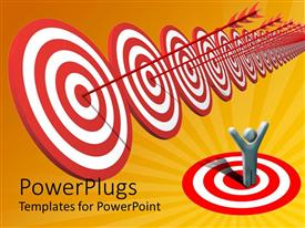 PowerPlugs: PowerPoint template with success metaphor with man celebrating while arrows hit bulls eye on targets
