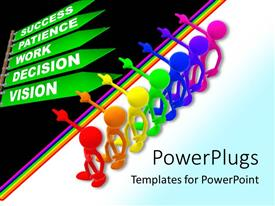 PowerPlugs: PowerPoint template with success metaphor with rainbow people pointing to green street signs