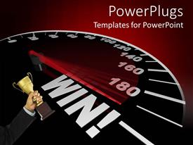 PowerPlugs: PowerPoint template with success metaphor with speedometer pointing to the world win, hand holding gold trophy