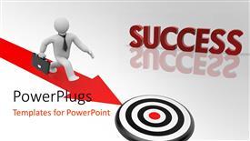 PowerPoint template displaying success metaphor with white 3D figure walking down red arrow toward bulls eye target