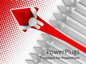 PowerPlugs: PowerPoint template with success metaphor with white person holding red up arrow with crowd watching from below