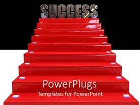PowerPoint template displaying success at the top of red staircase