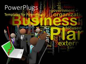 PowerPlugs: PowerPoint template with successful business team with financial chart showing huge profit