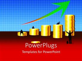 PowerPlugs: PowerPoint template with successful businessman with pile of gold coins on red platform