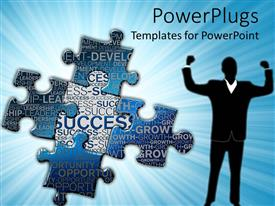 PowerPoint template displaying successful man punching the air with jigsaw puzzle pieces and success texts