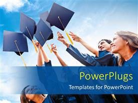 PowerPlugs: PowerPoint template with successful students throwing graduation hats in the air