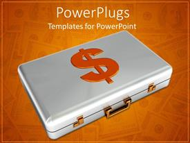 PowerPoint template displaying a suitcase with a dollar sign