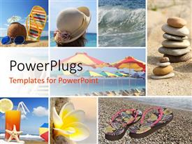 PowerPlugs: PowerPoint template with summer holiday collage with different pictures like water, stones, hat, juice