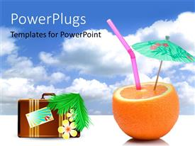 PowerPlugs: PowerPoint template with summer vacation depiction with straw and green parasol in orange