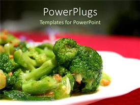 PowerPlugs: PowerPoint template with sumptuous dish of broccoli flowers saturated in garlic