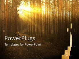 PowerPlugs: PowerPoint template with sun rays penetrating through trees with cross in background