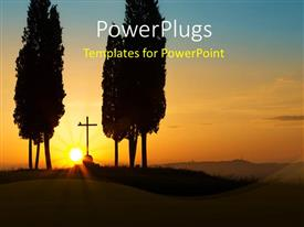 PowerPoint template displaying sun rising on cross between two cypress trees