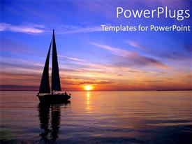 PowerPlugs: PowerPoint template with sun set view of  boat on a large river