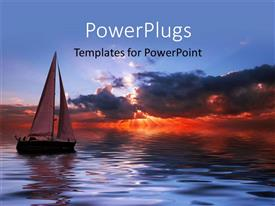 PowerPlugs: PowerPoint template with sun set view of a boat on an open sea