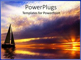 PowerPlugs: PowerPoint template with sun set view of a boat on a river