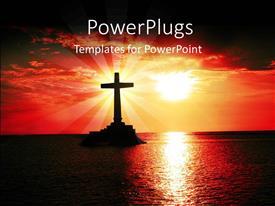 PowerPoint template displaying a sun set view of a cross on a large ocean
