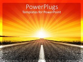 PowerPoint template displaying sun set view of an empty deserted high way