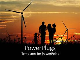 PowerPlugs: PowerPoint template with sun set view of a family of four walking in between wind turbines