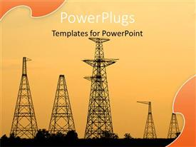 PowerPoint template displaying sun set view of five electrical towers on bare landscape